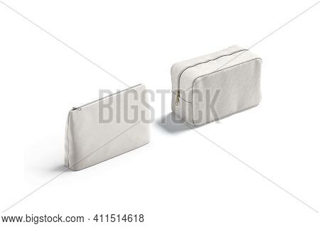 Blank Canvas Pouch And Cosmetic Bag Mock Up, View View, 3d Rendering. Empty Cloth Fastener Cluth Or