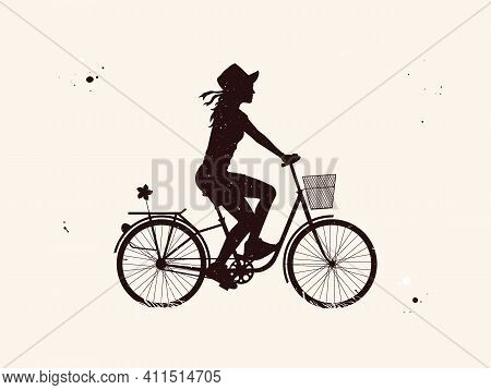 Girl On Bicycle. Cyclist On Bike Abstract Silhouette. Night Starry Sky