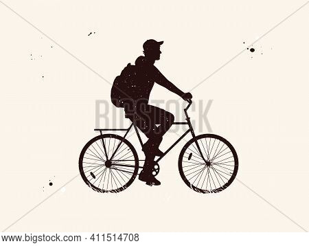 Man On Bike. Cyclist On Bicycle Abstract Silhouette. Night Starry Sky