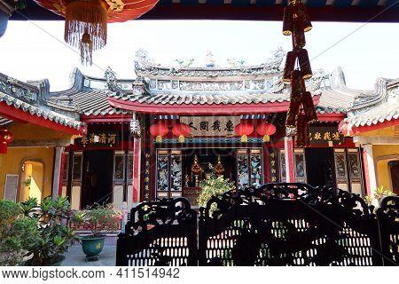 Hoi An, Vietnam, March 8, 2021: Inner Courtyard Of A Taoist Temple In Hoi An, Vietnam