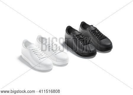 Blank Black And White Leather Sneakers With Lace Mockup, Isolated, 3d Rendering. Empty Classic Foot-