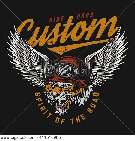 Custom Motorcycle Colorful Vintage Emblem With Angry Tiger Head In Moto Goggles And Helmet With Eagl