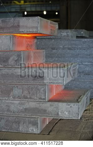 Stack Of Hot Steel Plate In Steel Plant