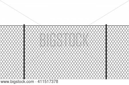 Wire Chain-link Fence. Vector Steel Woven Net Pattern Illustration. Safety Metal Net Barrier. Prison