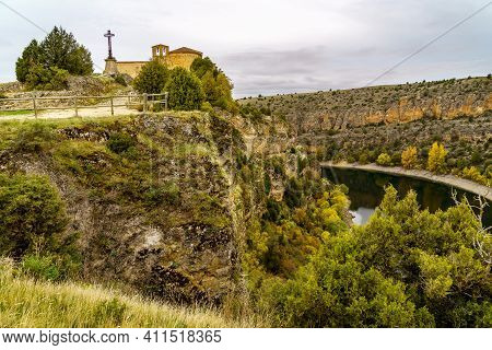 Christian Hermitage On The Mountain On The Cliff Of A River That Runs In A Canyon. Hermitage San Fru