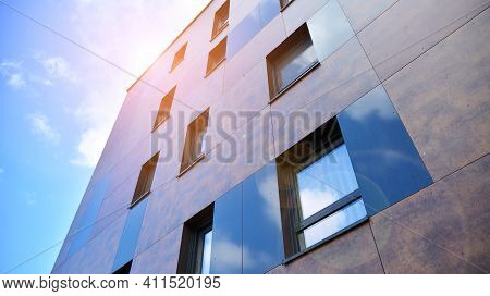 Cityscape With Facade Of A Modern Residential Building. Modern European Residential Apartment Buildi