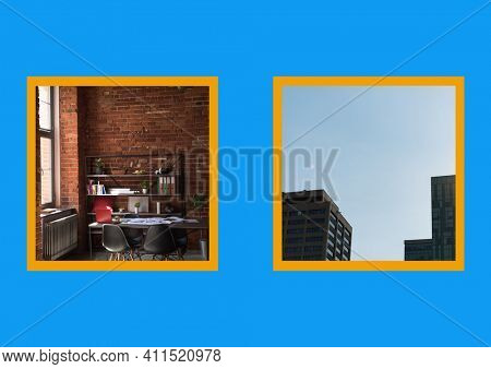 Composition of two photos of office interior and office blocks with yellow border on blue background. work creative business concept with copy space, digitally generated image. and
