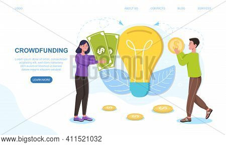 Male And Female Characters Are Giving Money For Crowdfunding. Concept Of Raising Money For Business