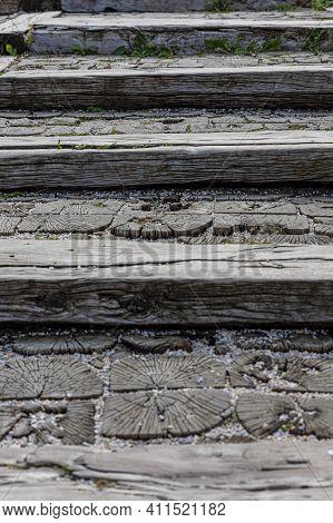 Traditional Wooden Stairs In Mecavnik, Kustendorf Village In Serbia