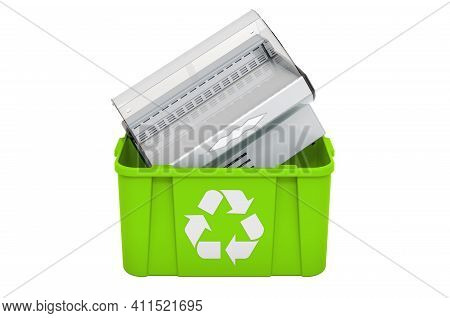 Recycling Trashcan With Display Case, Showcase. 3d Rendering Isolated On White Background