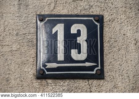Weathered Grunge Square Metal Enamelled Plate Of Number Of Street Address With Number 13