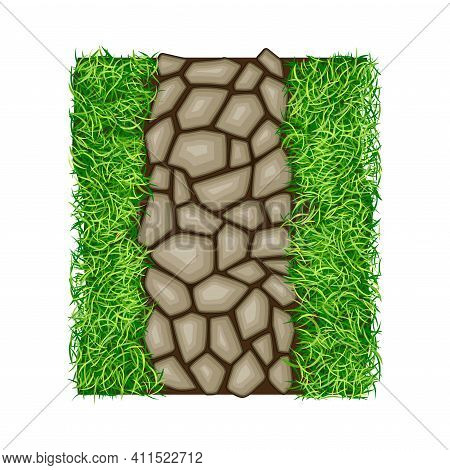 Walkway Of Rough Cobblestones Rested On Green Lawn Grass As Landscape Design Vector Illustration