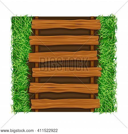 Wooden Walkway Rested Among Green Lawn Grass As Footpath Landscape Design Vector Illustration