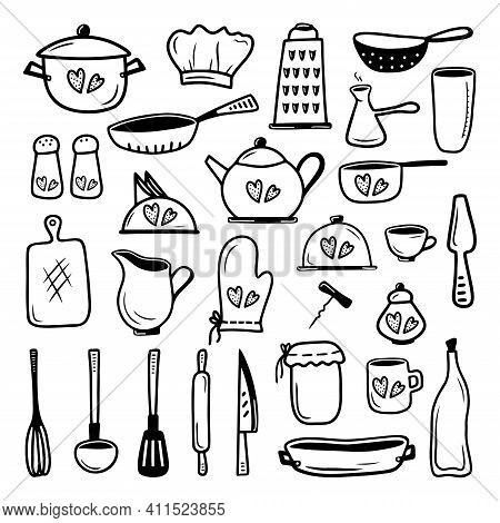 Set Hand Drawn Elements Kitchen Utensils And Tableware Isolated On A White Background. Doodle, Simpl