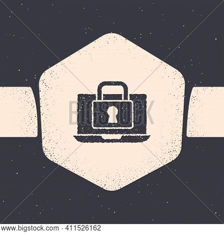 Grunge Laptop And Lock Icon Isolated On Grey Background. Computer And Padlock. Security, Safety, Pro