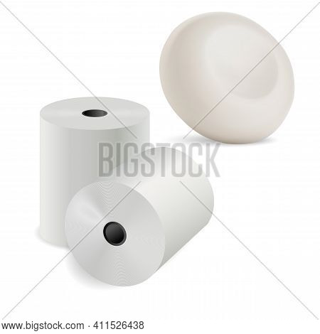 Toilet Paper 3d Roll. Kitchen Towel, Round Soap Bar Realistic Illustration. Recycle Paper Sheet Set,