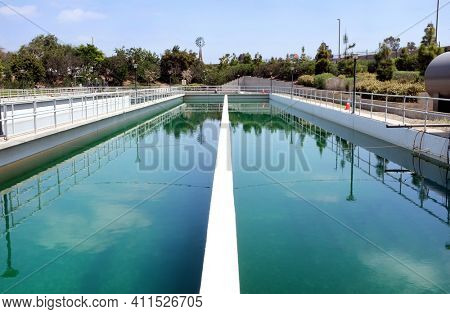 IRVINE, CALIFORNIA - APRIL 27, 2018: Irvine Ranch Water District Chlorine Contact Basin. The IRWD delivers more than 25 million gallons of recycled water per day.