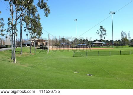 IRVINE, CA - NOVEMBER 13, 2016: Softball field at the Colonel Bill Barber Marine Corps Memorial Park. The park features 4 softball fields, as well as tennis courts, batting cages and play