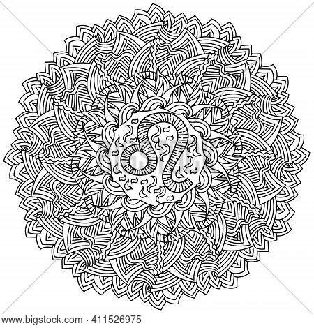 Zodiac Sign Leo Mandala, Meditative Coloring Page With Triangular Striped Ornaments Vector Illustrat
