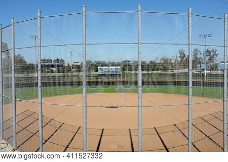 IRVINE, CA - NOVEMBER 13, 2016: Deanna Manning Stadium in Irvine, California. The stadium is used by High School, and recreational softball teams, and hosts the Annual Champions Cup Tournament.
