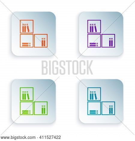 Color Shelf With Books Icon Isolated On White Background. Shelves Sign. Set Colorful Icons In Square