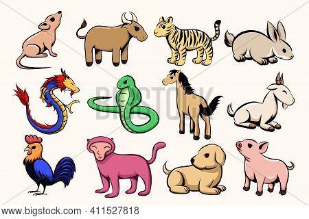 Set Of Twelve Lunar Zodiac Horoscope Symbol. Concept Chinese Happy New Year. Color Vector Illustrati