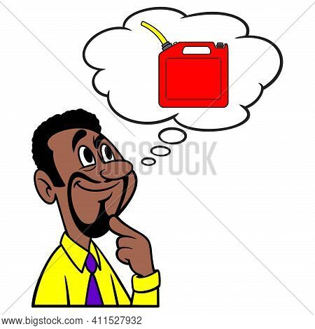 Man Thinking About Gasoline Prices - A Cartoon Illustration Of A Man Thinking About Gasoline Prices.