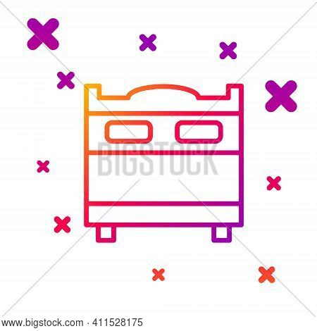 Color Line Bedroom Icon Isolated On White Background. Wedding, Love, Marriage Symbol. Bedroom Creati