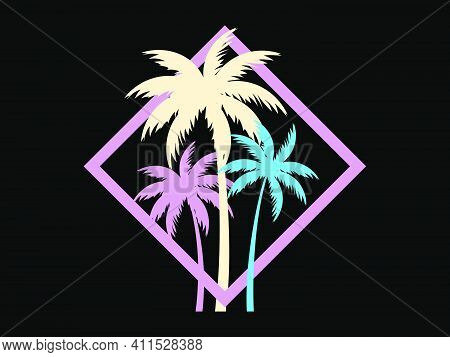 Palm Trees In A Square Frame. Multicolored Palm Trees Retro Style Of The 80s. Design For Advertising