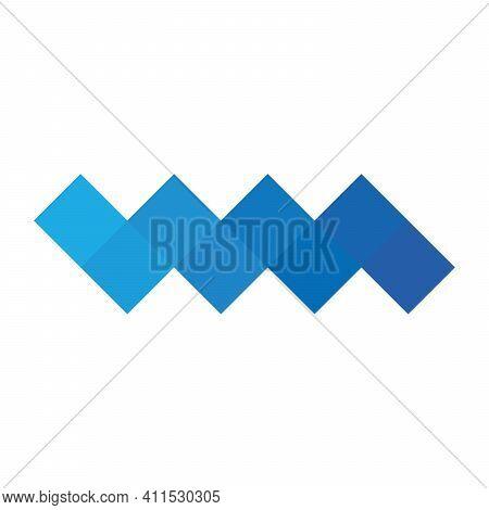 Blue Pixelized Mosaic Logo Design Element. Abstract Zigzag Chevron Shape Of Multiple Squares. Simple