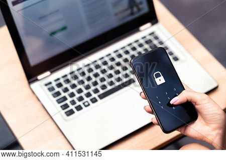 Phone Password Lock For Mobile Cyber Security Or Login Verification Passcode In Online Bank App. Dat