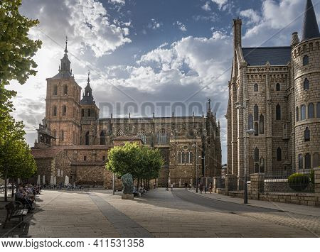 Astorga, Spain, July 2020 - Saint Maria Cathedral And Episcopal Palace In The City Of Astorga, Spain