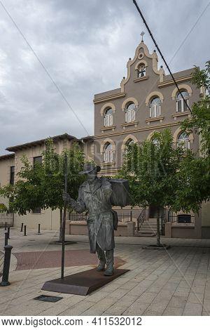 Astorga, Spain, July 2020 - Statue Of A Pilgrim On The Camino De Santiago In Astorga, Spain