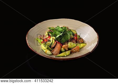 Chinese Beaten Cucumbers Salad With Pork, Dark Background, Place For Text