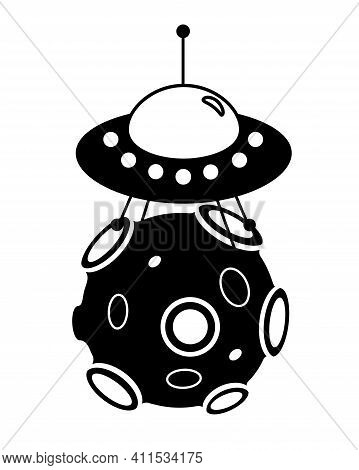 Flying Saucer Landed On An Asteroid - Vector Silhouette Illustration For Logo Or Sign. Spaceship On