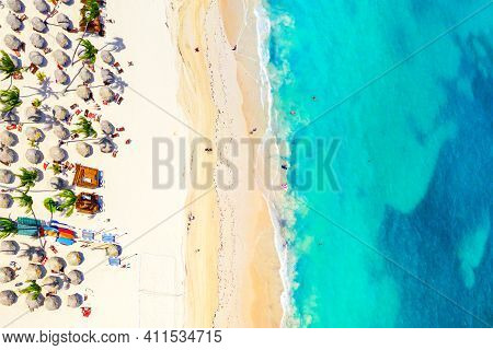 Beach Vacation And Travel Background. Aerial Drone View Of Beautiful Atlantic Tropical Beach With St