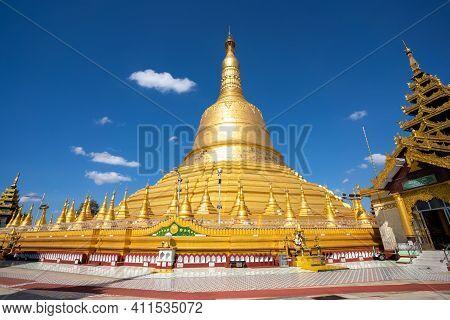 Bago, Myanmar - Dec. 1, 2019 : Shwemawdaw Pagoda The Hightest Pagoda In Myanmar, Bago, Myanmar.