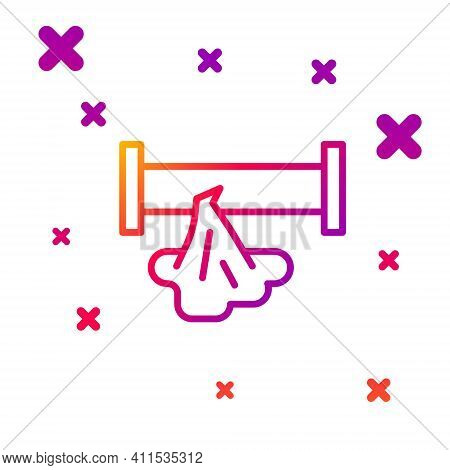Color Line Broken Metal Pipe With Leaking Water Icon Isolated On White Background. Gradient Random D