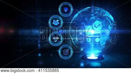 Business, Technology, Internet And Network Concept. Add To Cart Internet Web Store Buy Online E-comm