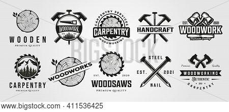 Set Of Vector Carpentry Woodwork Vintage Logo Craftsman Symbol Illustration Design