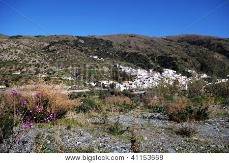 White village in mountains, Torvizcon, Andalusia, Spain.