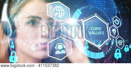 Business, Technology, Internet And Network Concept. Core Values Responsibility Ethics Goals Company