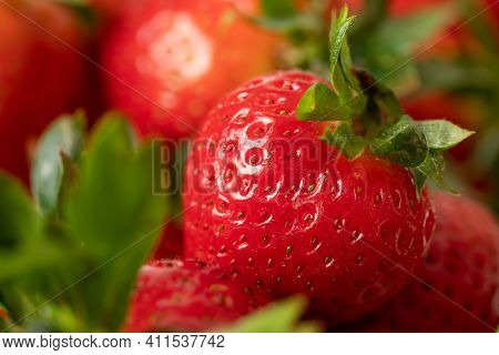 Delicious Ripe Red Strawberry. Juicy Strawberries. Healthy Strawberries. Closeup Of Strawberries.