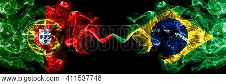 Portugal, Portuguese Vs Brazil, Brazilian Smoky Mystic Flags Placed Side By Side. Thick Colored Silk