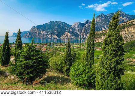 Fantastic Vacation Destination With Lake Garda And Spectacular Mountains, Torbole, Trentino, Italy,