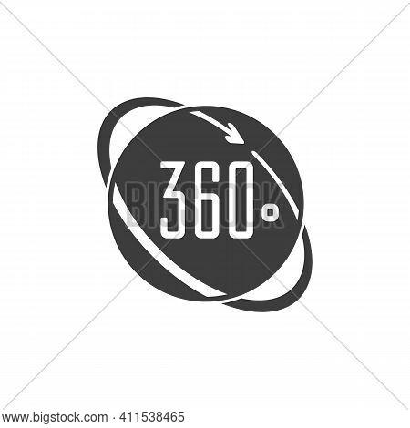 360 Degrees Icons. Arrows Rotation Circle Symbol. Geometry Math Signs Symbols. Full Complete Rotatio