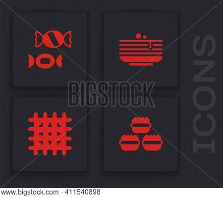 Set Macaron Cookie, Candy, Stack Of Pancakes And Cracker Biscuit Icon. Vector