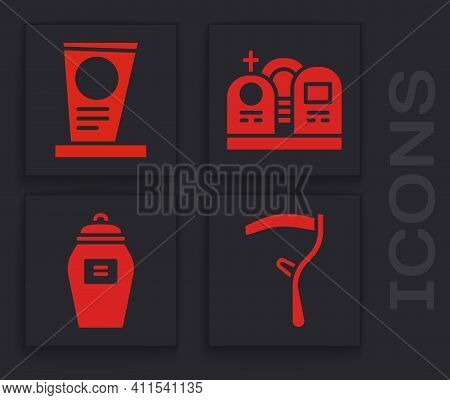Set Scythe, Grave With Tombstone, Grave With Tombstone And Funeral Urn Icon. Vector