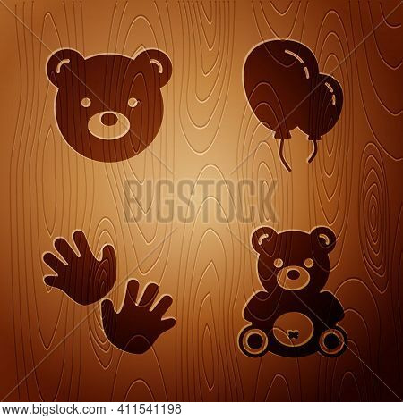 Set Teddy Bear Plush Toy, Teddy Bear Plush Toy, Baby Hands Print And Balloons With Ribbon On Wooden