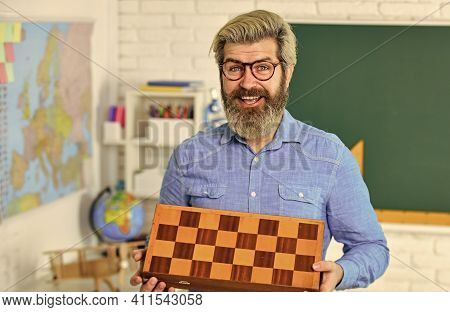Strategy Concept. Management And Leadership. Board Game. Man Playing Chess. Intellectual Game. Perso